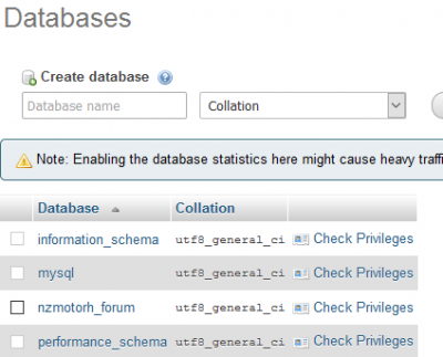 Shows the Database same as in config.php